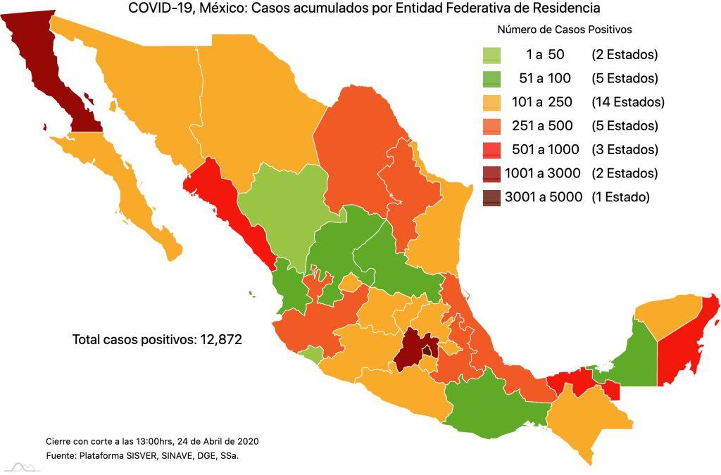 #COVID19 en México, casos activos, positivos, negativos, sospechosos, defunciones y tasa de incidencia por estado al 24 de abril 2020 2