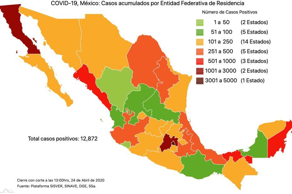 #COVID19 en México, casos activos, positivos, negativos, sospechosos, defunciones y tasa de incidencia por estado al 24 de abril 2020 1