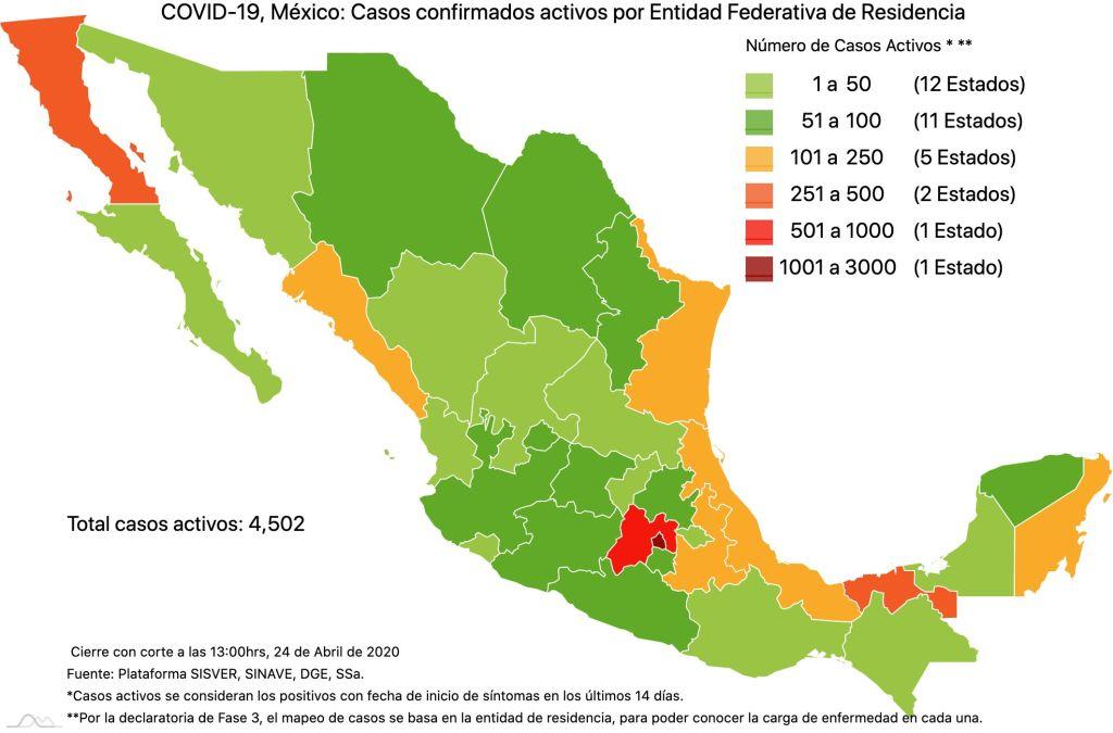#COVID19 en México, casos activos, positivos, negativos, sospechosos, defunciones y tasa de incidencia por estado al 24 de abril 2020 3