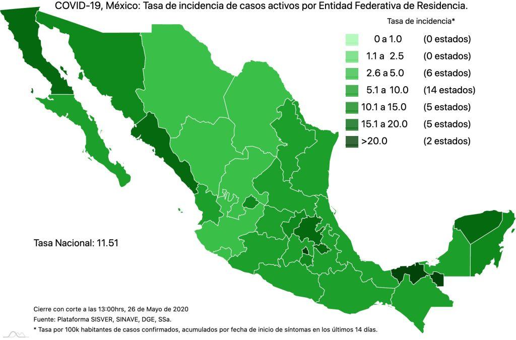 #COVID19 en México 26 de mayo 2020, casos defunciones, activos y tasa de incidencia nacional y por estado 3