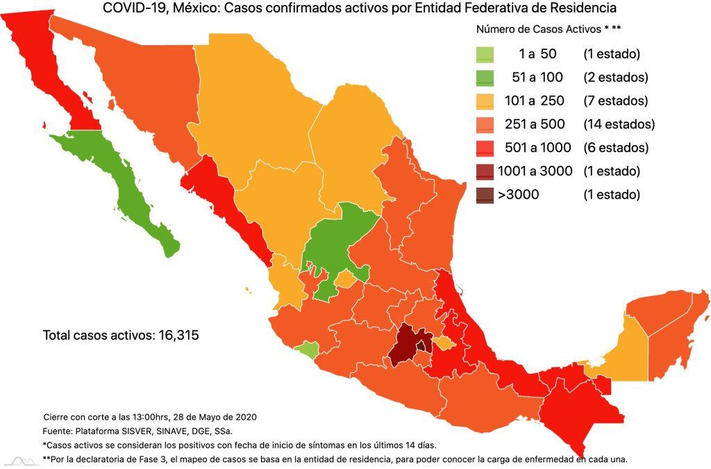 #COVID19 en México 28 de mayo 2020, casos defunciones, activos y tasa de incidencia nacional y por estado 2