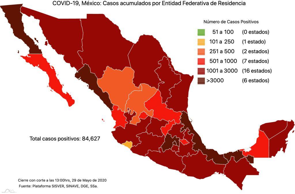 #COVID19 en México 29 de mayo 2020, casos defunciones, activos y tasa de incidencia nacional y por estado 1