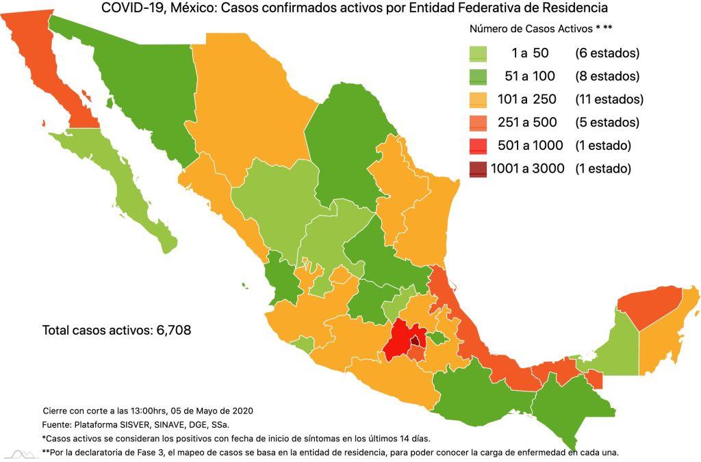 #COVID19 en México 5 de mayo 2020, casos defunciones y tasa de incidencia nacional y por estado 5