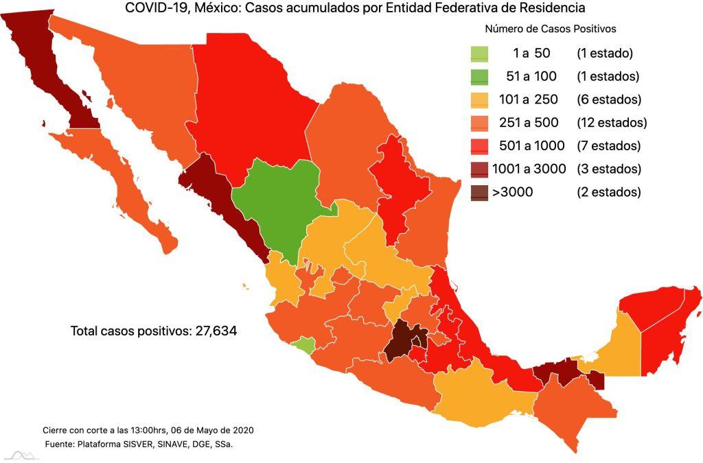 #COVID19 en México 6 de mayo 2020, casos defunciones y tasa de incidencia nacional y por estado 2