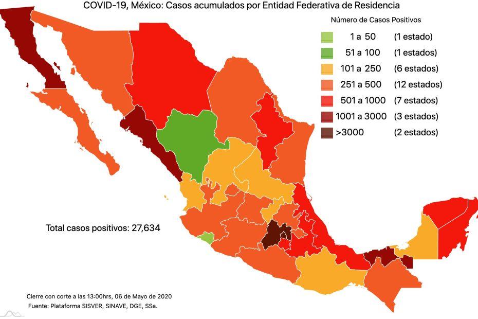 #COVID19 en México 6 de mayo 2020, casos defunciones y tasa de incidencia nacional y por estado 1