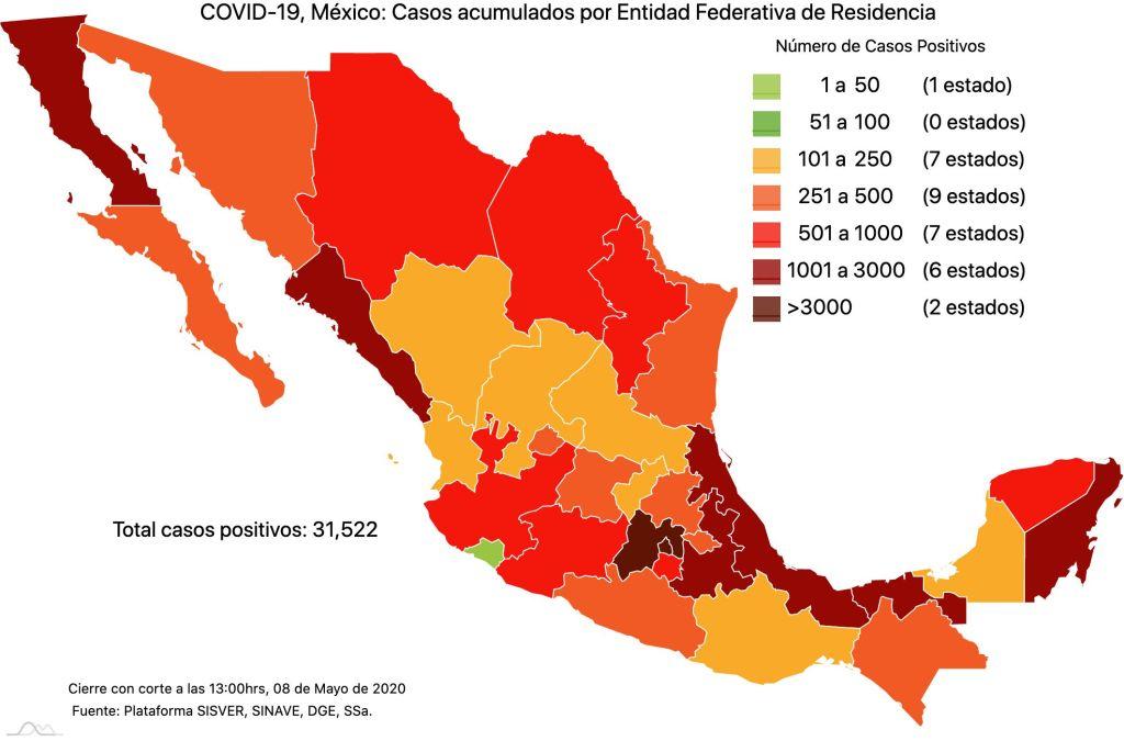 #COVID19 en México 8 de mayo 2020, casos defunciones y tasa de incidencia nacional y por estado 2