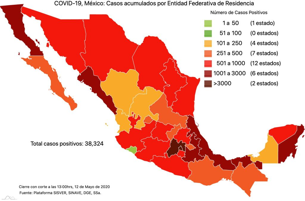 #COVID19 en México 12 de mayo 2020, casos defunciones y tasa de incidencia nacional y por estado 2