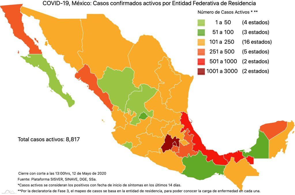 #COVID19 en México 12 de mayo 2020, casos defunciones y tasa de incidencia nacional y por estado 3