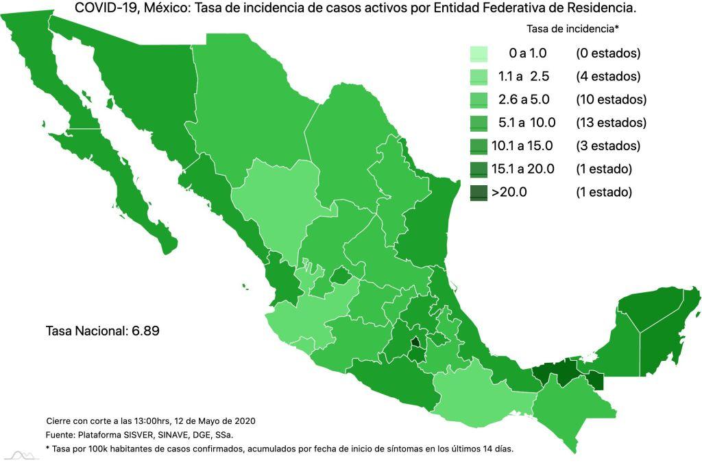 #COVID19 en México 12 de mayo 2020, casos defunciones y tasa de incidencia nacional y por estado 4