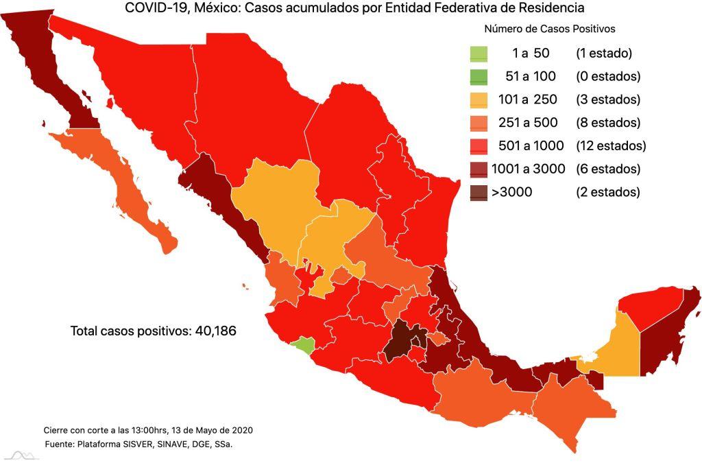 #COVID19 en México 13 de mayo 2020, casos defunciones y tasa de incidencia nacional y por estado 4