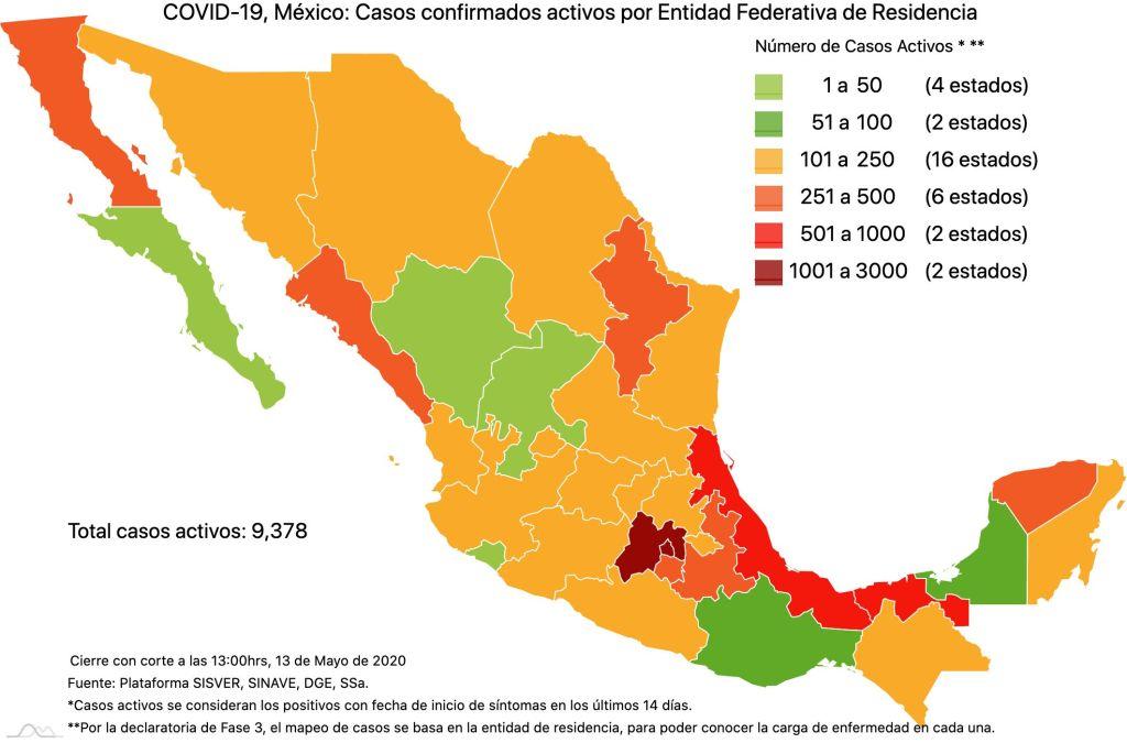 #COVID19 en México 13 de mayo 2020, casos defunciones y tasa de incidencia nacional y por estado 5