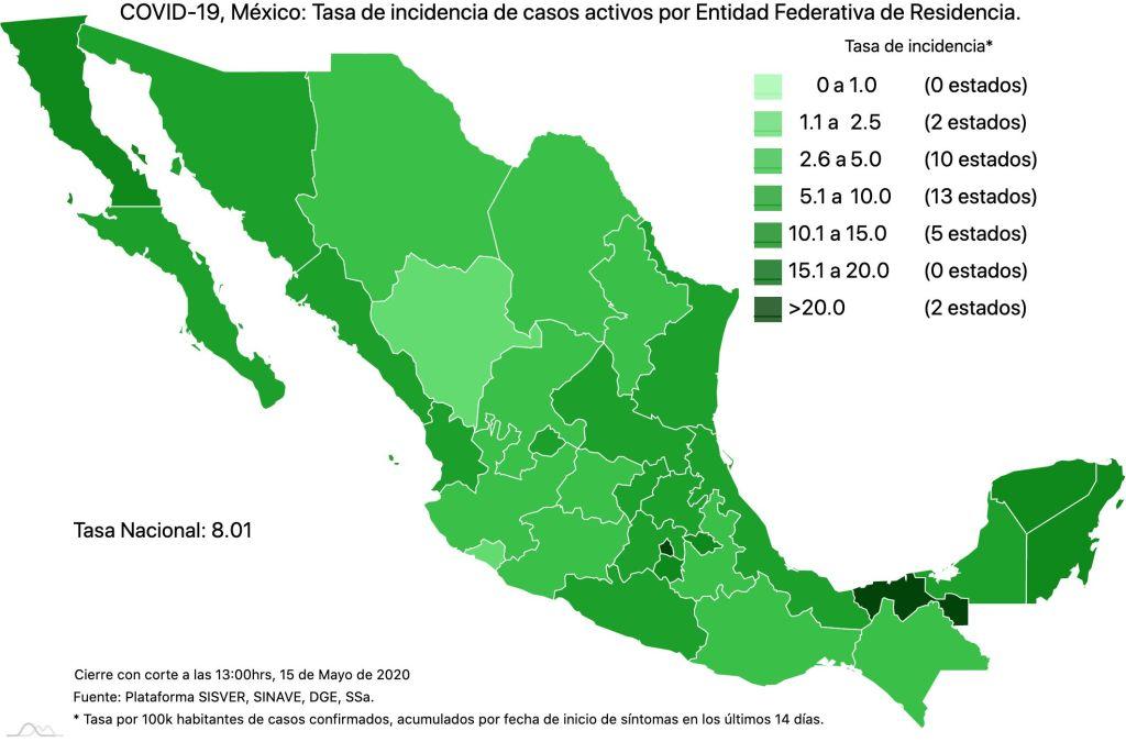 #COVID19 en México 15 de mayo 2020, casos defunciones y tasa de incidencia nacional y por estado 4