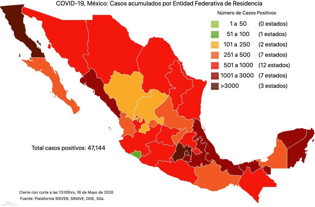 #COVID19 en México 16 de mayo 2020, casos defunciones y tasa de incidencia nacional y por estado 4