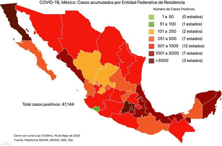 #COVID19 en México 16 de mayo 2020, casos defunciones y tasa de incidencia nacional y por estado 1
