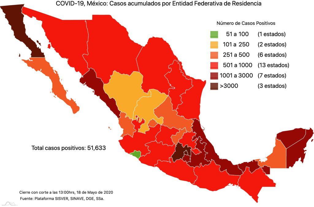 #COVID19 en México 18 de mayo 2020, casos defunciones, activos y tasa de incidencia nacional y por estado 2