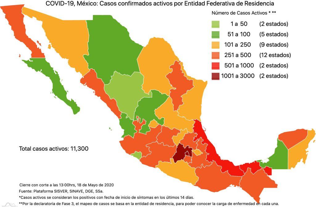#COVID19 en México 18 de mayo 2020, casos defunciones, activos y tasa de incidencia nacional y por estado 3