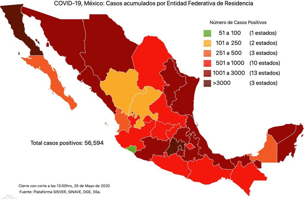 #COVID19 en México 20 de mayo 2020, casos defunciones, activos y tasa de incidencia nacional y por estado 2