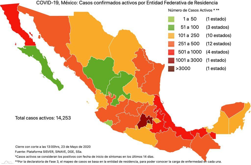 #COVID19 en México 23 de mayo 2020, casos defunciones, activos y tasa de incidencia nacional y por estado 3