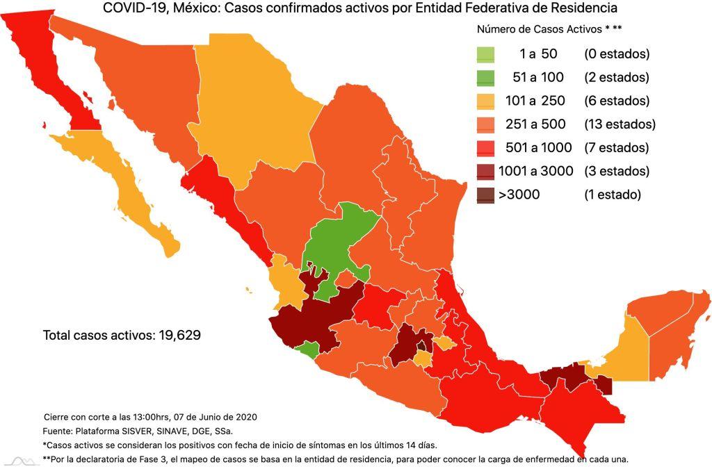#COVID19 en México 7 de junio 2020, casos defunciones, activos y tasa de incidencia nacional y por estado 2