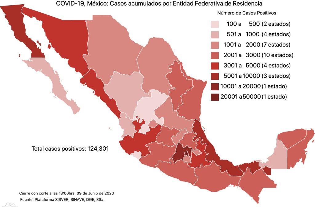 #COVID19 en México 9 de junio 2020, casos defunciones, activos y tasa de incidencia nacional y por estado 1