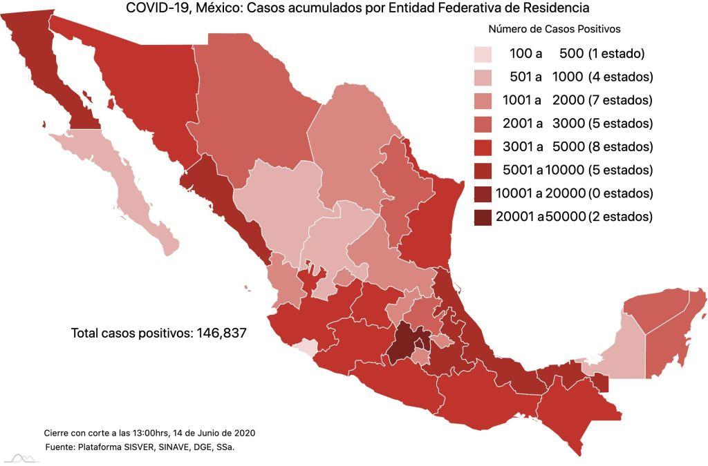COVID19 en México 14 de junio 2020, casos defunciones, activos y tasa de incidencia nacional y por estado 1