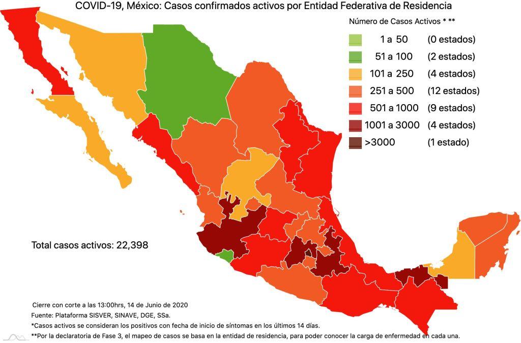 COVID19 en México 14 de junio 2020, casos defunciones, activos y tasa de incidencia nacional y por estado 2