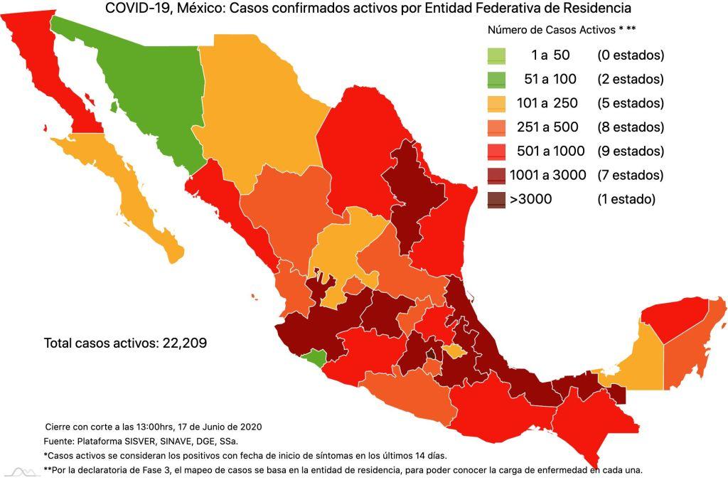 COVID19 en México 17 de junio 2020, casos defunciones, activos y tasa de incidencia nacional y por estado 2