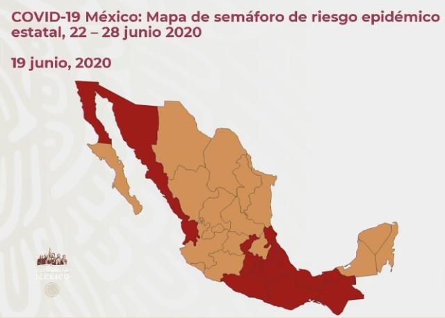 COVID-19 México: Mapa del semáforo de riesgo epidémico estatal 22 - 28 de junio 2020