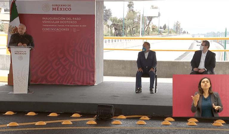 """""""Me da mucho gusto estar aquí de nuevo en Tlaxcala, no es retórica mucho menos demagogia"""": AMLO en la inauguración del paso vehicular Ocotoxco, Yauhquemecan"""