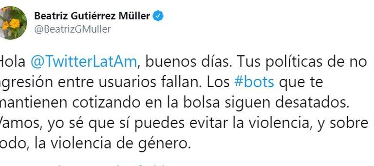 """Gutiérrez Müller nuevamente contra Twitter: """"No detiene ofensas, amenazas, calumnias, racismo"""" 1"""