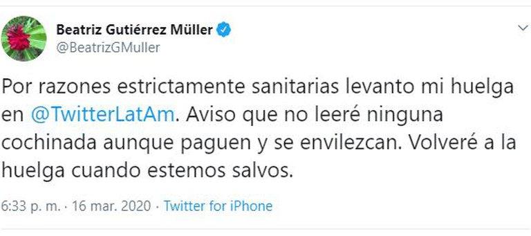 """Gutiérrez Müller nuevamente contra Twitter: """"No detiene ofensas, amenazas, calumnias, racismo"""" 2"""