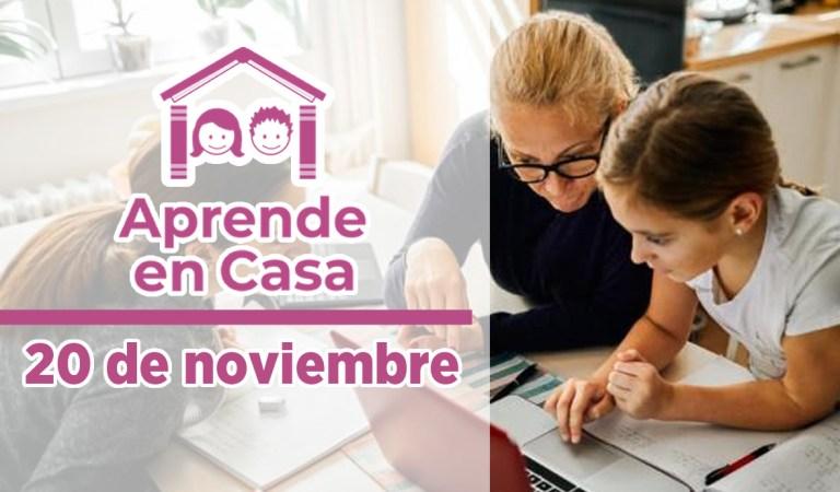 Clases y materiales de Aprende en Casa – 20 de noviembre