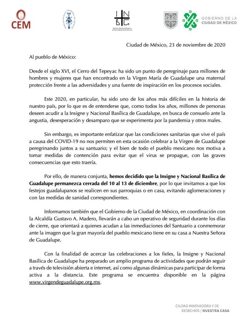 A fin de evitar aglomeraciones y contagios de Covid-19, la Basílica de Guadalupe permanecerá cerrada  del 10 al 13 de diciembre 4