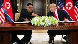 Acuerdos de Singapur entre Corea del Norte y EEUU firman Trump y Kim