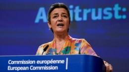 La comisaria europea de Competencia, Margrethe Vestager, el 30 de enero de 2020 en la sede de la Comisión Europea en Bruselas