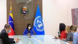 Delcy Rodríguez reunida con funcionarios de la ONU