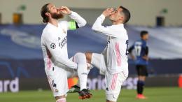 Sergio ramos y Lucas vásquez celebran gol en Champions