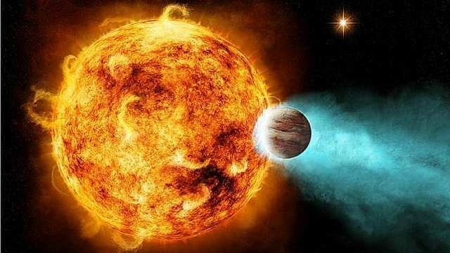 Recreación artística de la estrella CoRoT-2a, aniquilando un planeta cercano