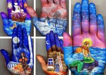 c01f26a5615d05fc2fea50594e995411 - Una pintora muestra su arte en la palma de la mano