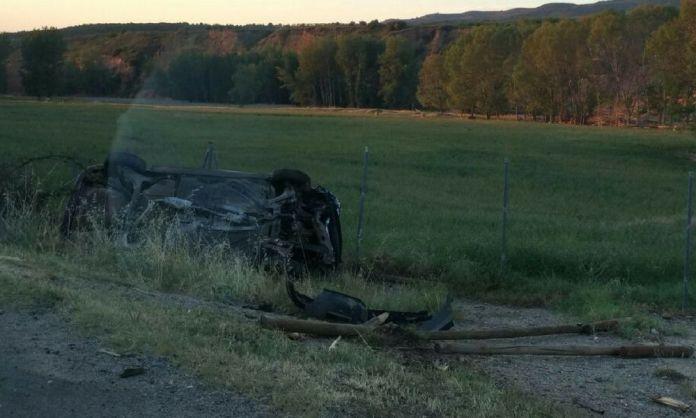Estado del vehículo tras sufrir el accidente en la Vía Verde entre Arnedo y Herce