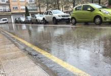 Pavimento mojado en Arnedo durante una tormenta