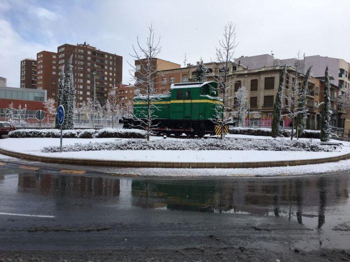Nieve en la Rotonda de Sevillas
