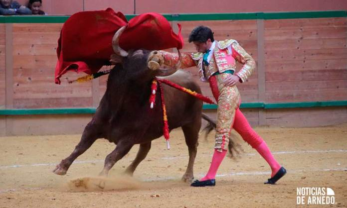 Novillero Ángel Jiménez con el primero (bis) en el Arnedo Arena