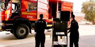 UME traslada del Arnedo Arena equipamiento sanitario al Hospital San Pedro
