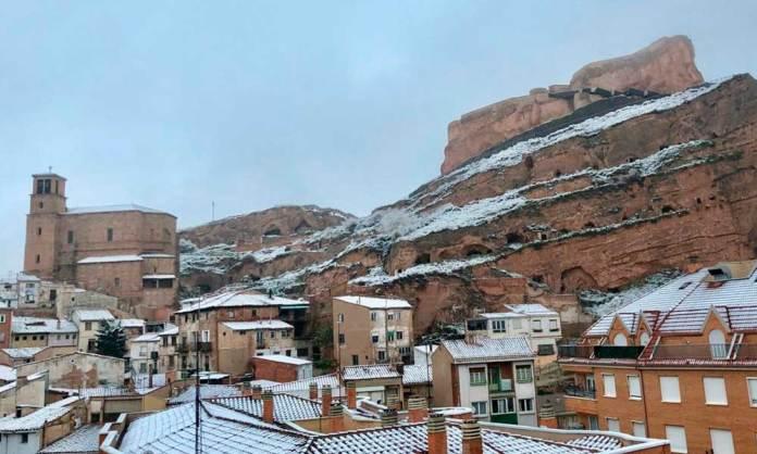 Nieve sobre Arnedo en marzo de 2020   Imagen: Hotel Virrey