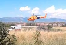 Helicóptero de Iberdrola aterrizando en La Rioja (Extraído de R. Las Brujas)