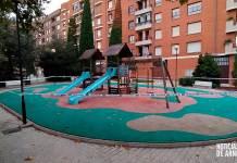 Parque infantil clausurado en Arnedo en la segunda ola de la pandemia