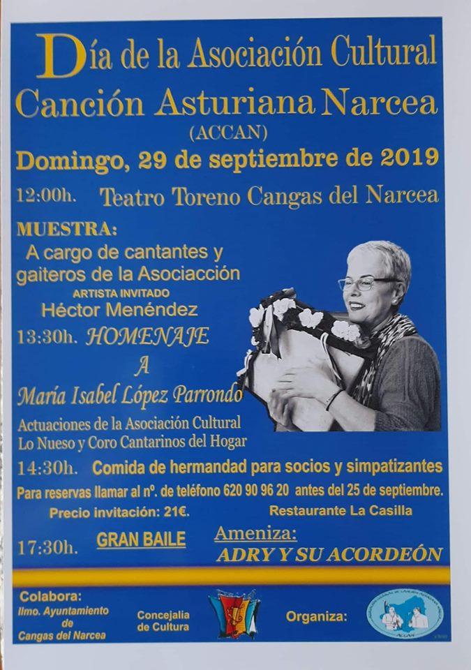 Homenaje a Maribel Parrondo en el Día de la Asociación Canción Asturiana Narcea 1