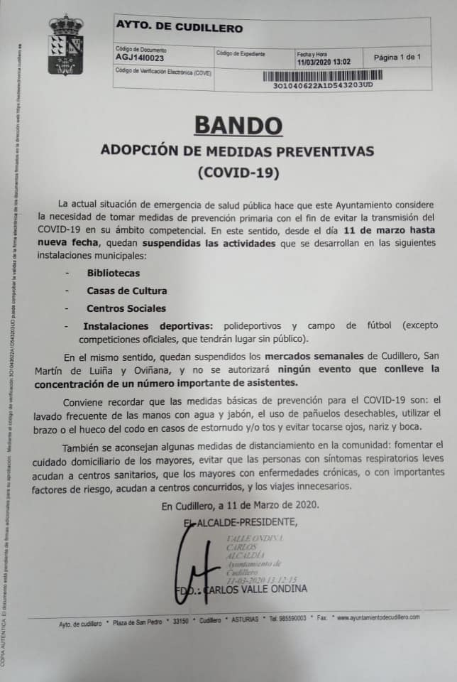 Bando Ayuntamiento Cudillero 11/03/2020 1