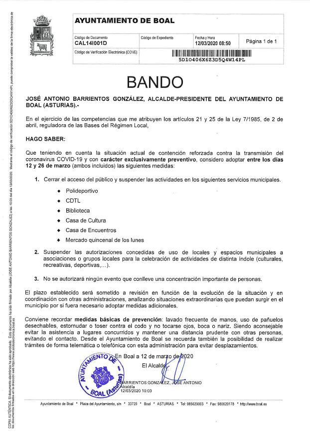 Bando municipal Boal 12/03/2020 1